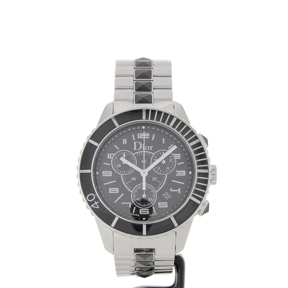 Montre Dior Christal chronographe acier et un rang saphir noir CD114317 d'occasion