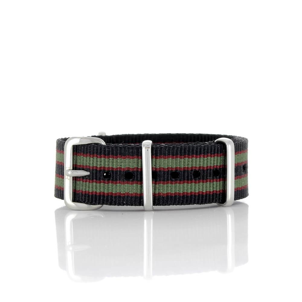 Bracelet Nato James Bond noir Goldfinger kaki et rouge 18mm