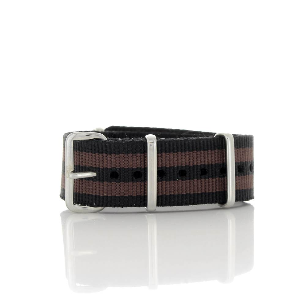 Bracelet Nato James Bond noir & bordeaux 20mm