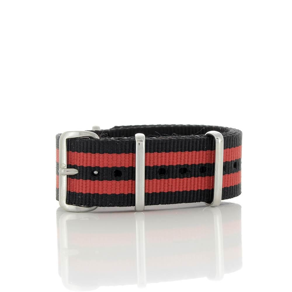 Bracelet Nato James Bond noir & rouge 20mm