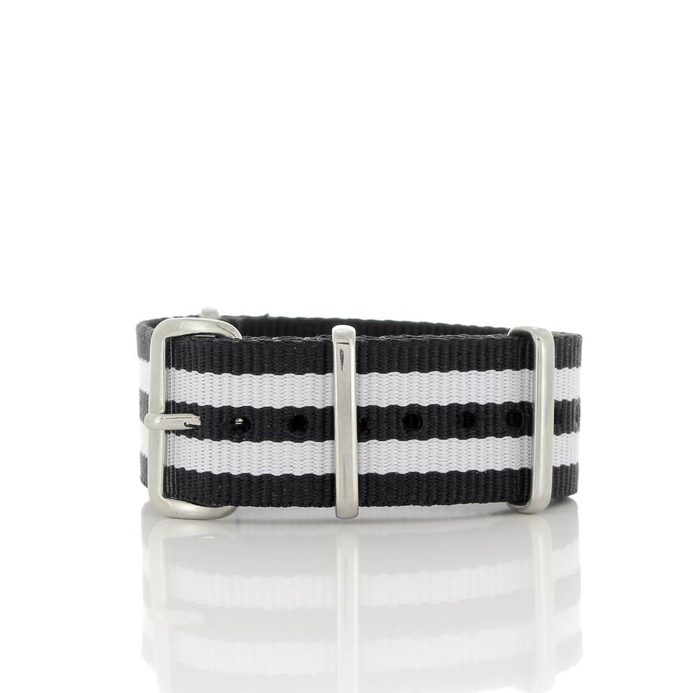 Bracelet Nato James Bond noir & blanc 20mm