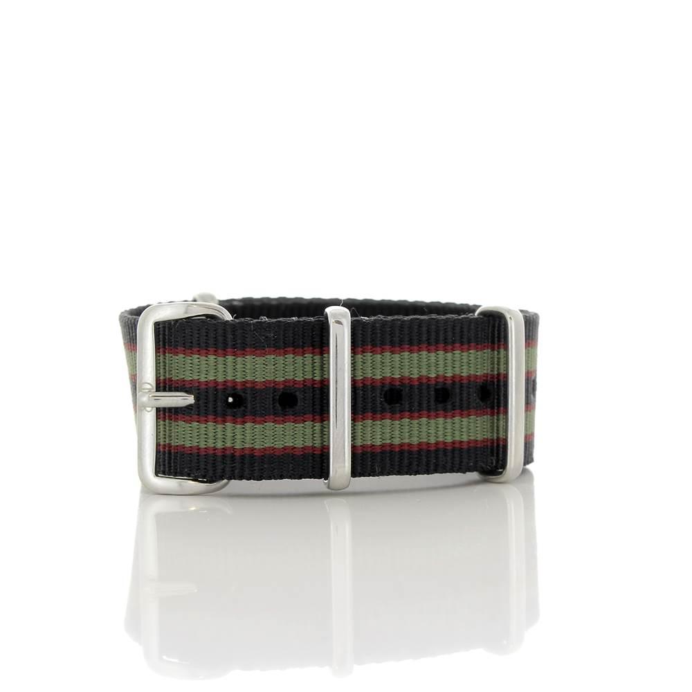 Bracelet Nato James Bond noir Goldfinger kaki et rouge 20mm