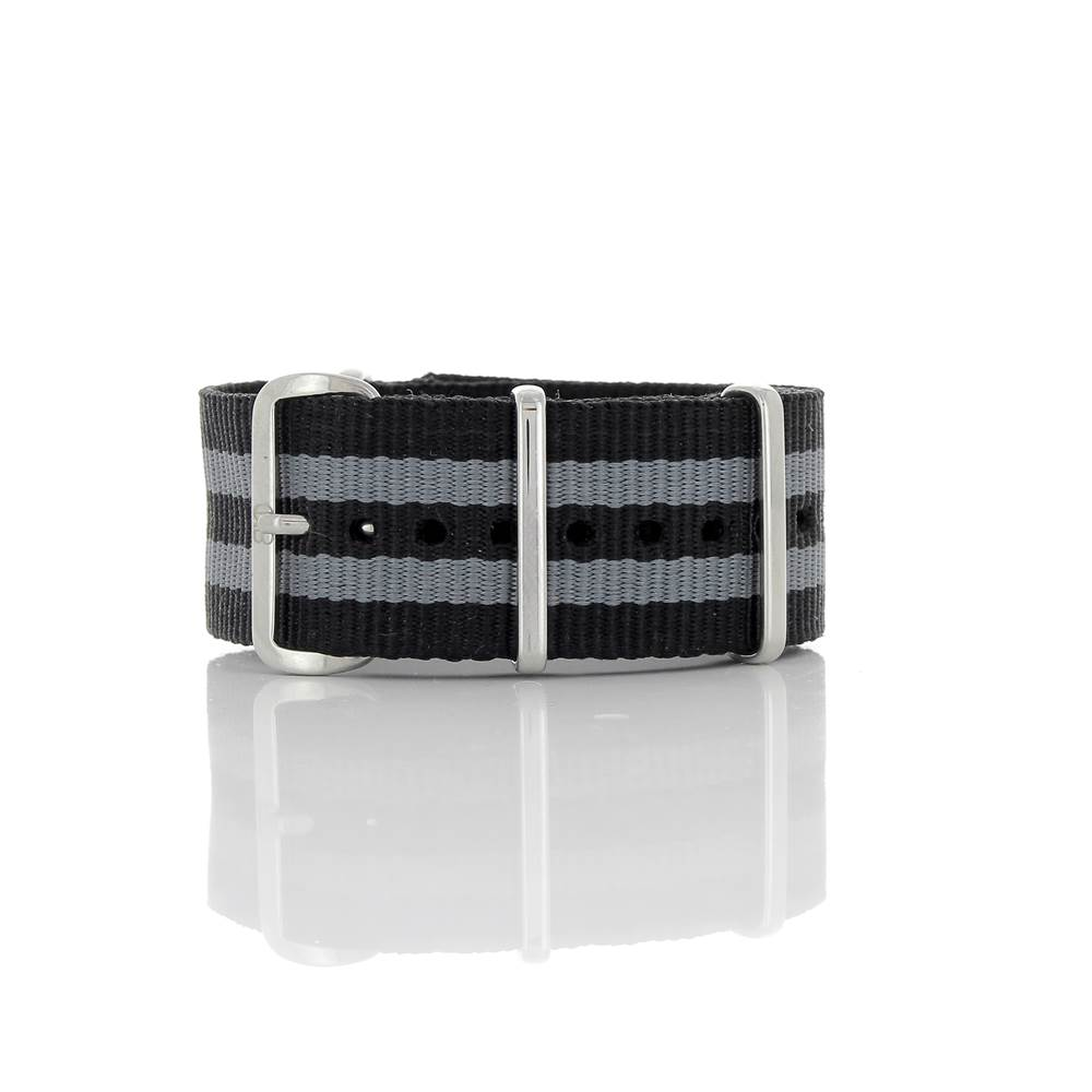 Bracelet Nato James Bond noir & gris 24mm