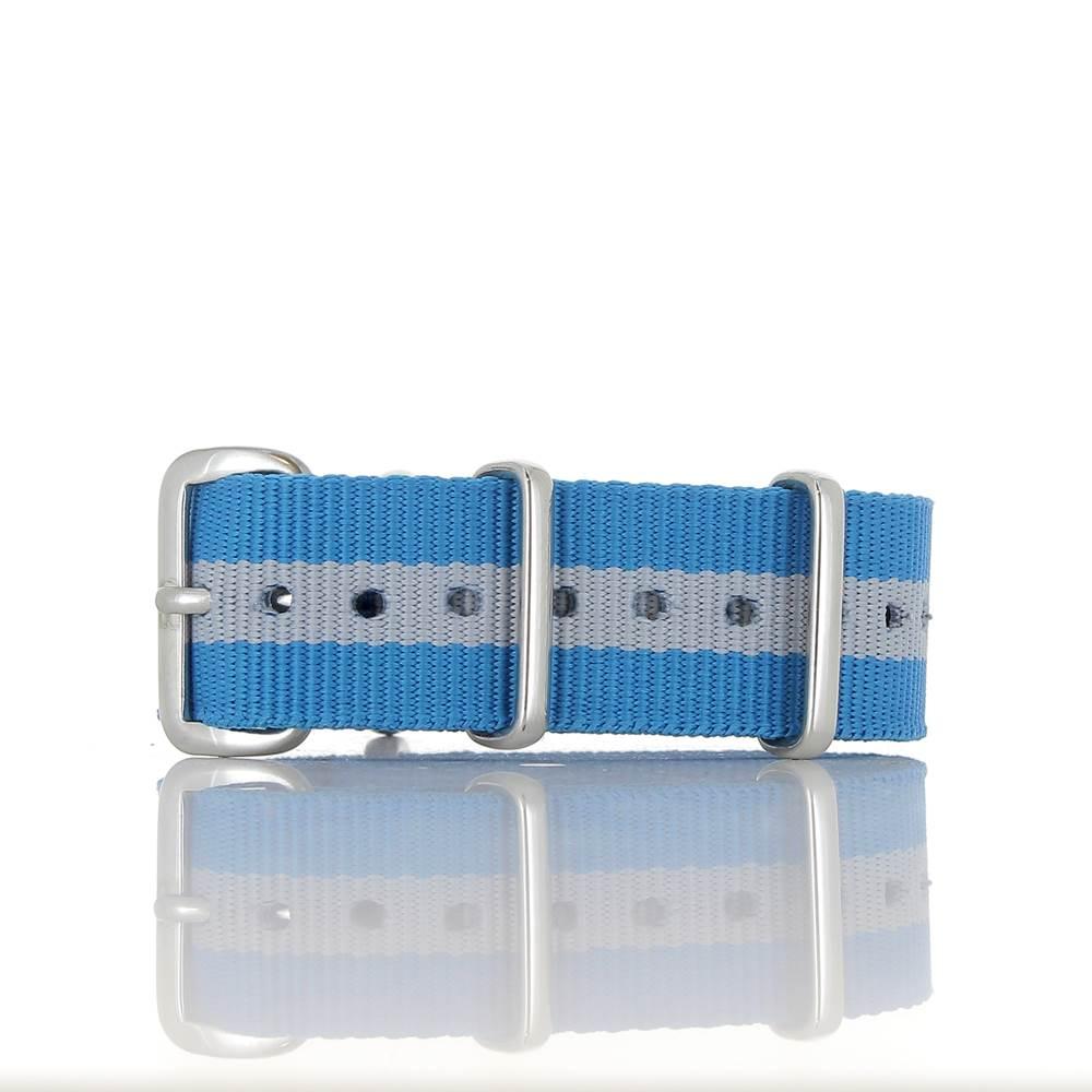 Bracelet Nato bleu turquoise & gris 18mm