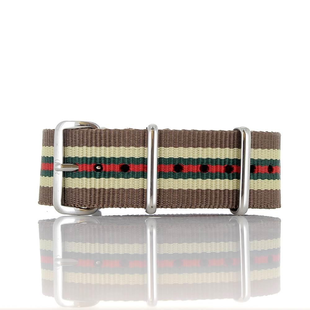 Bracelet Nato Colorado marron beige vert rouge 20mm