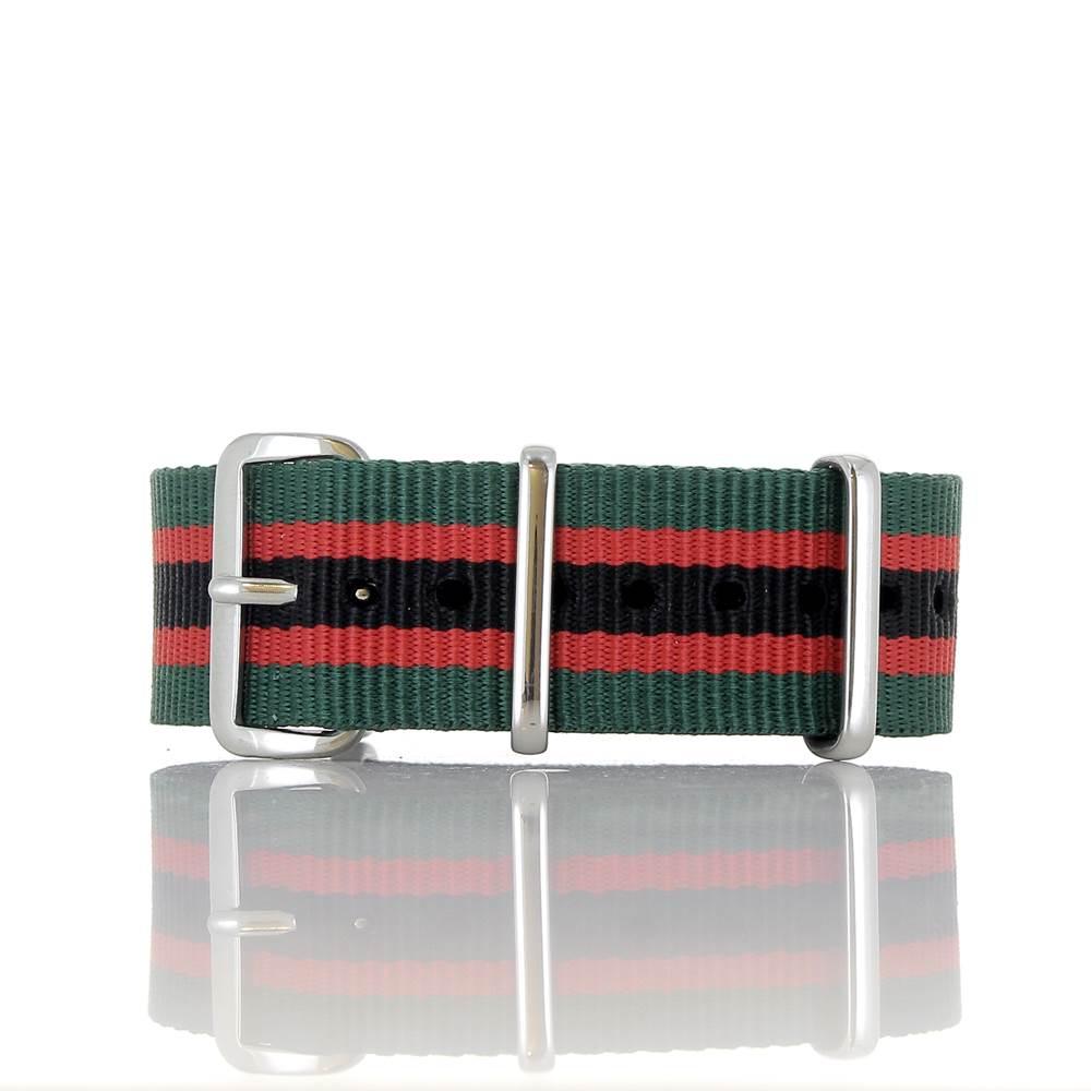 Bracelet Nato vert rouge noir 20mm