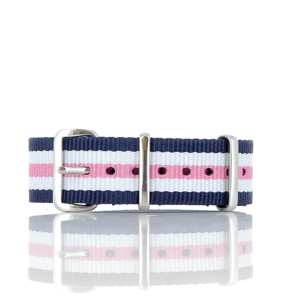 Bracelet Nato bleu blanc rose 20mm