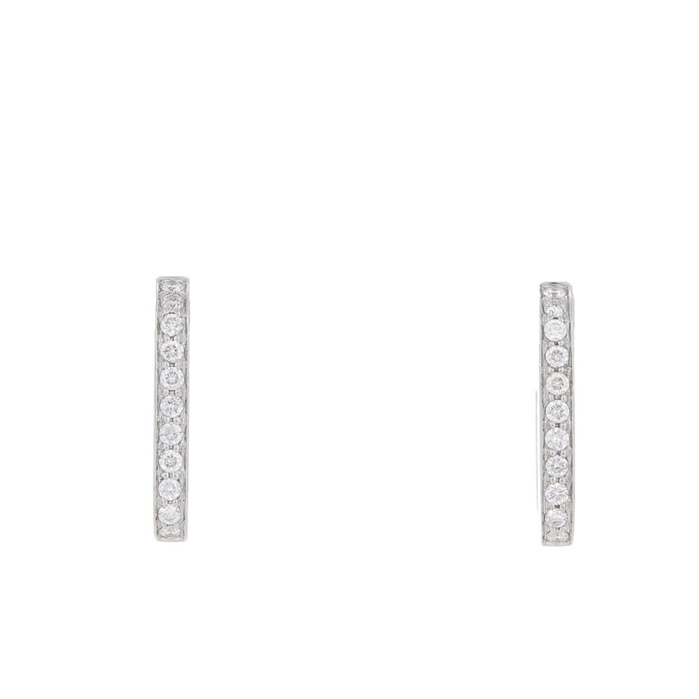 Boucles d'oreilles créoles Dinh Van Maillon or blanc et diamants d'occasion
