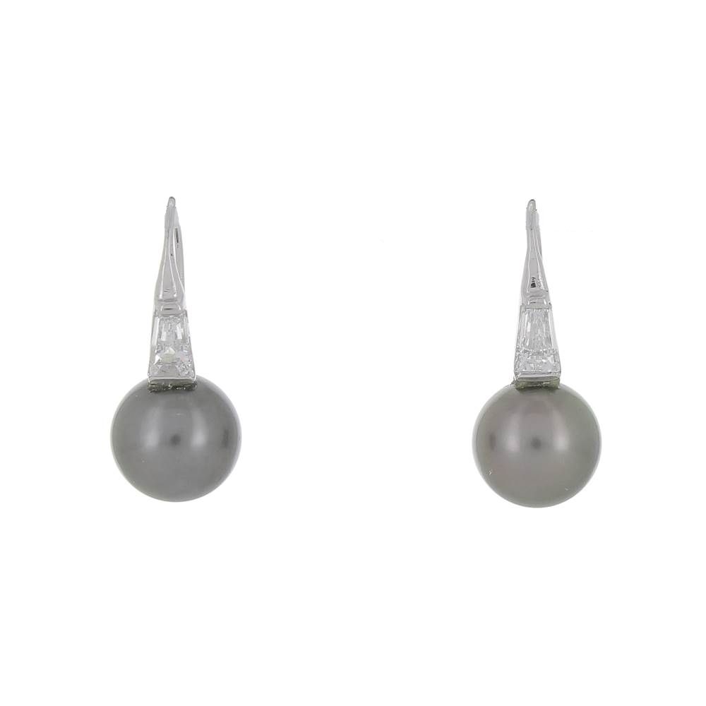 BO en Or blanc, Perles de Tahiti et diamants tapers d'occasion