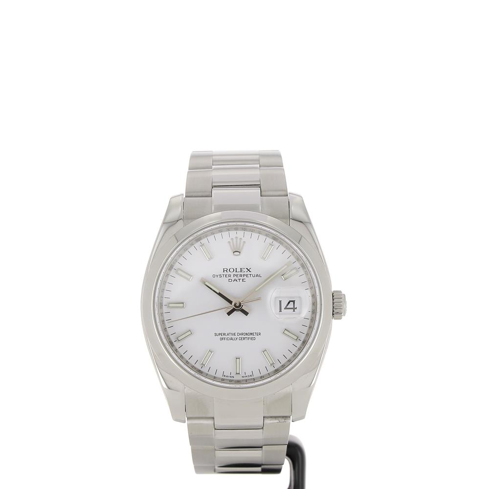 montre d 39 occasion rolex oyster perpetual date 115200 cadran blanc. Black Bedroom Furniture Sets. Home Design Ideas