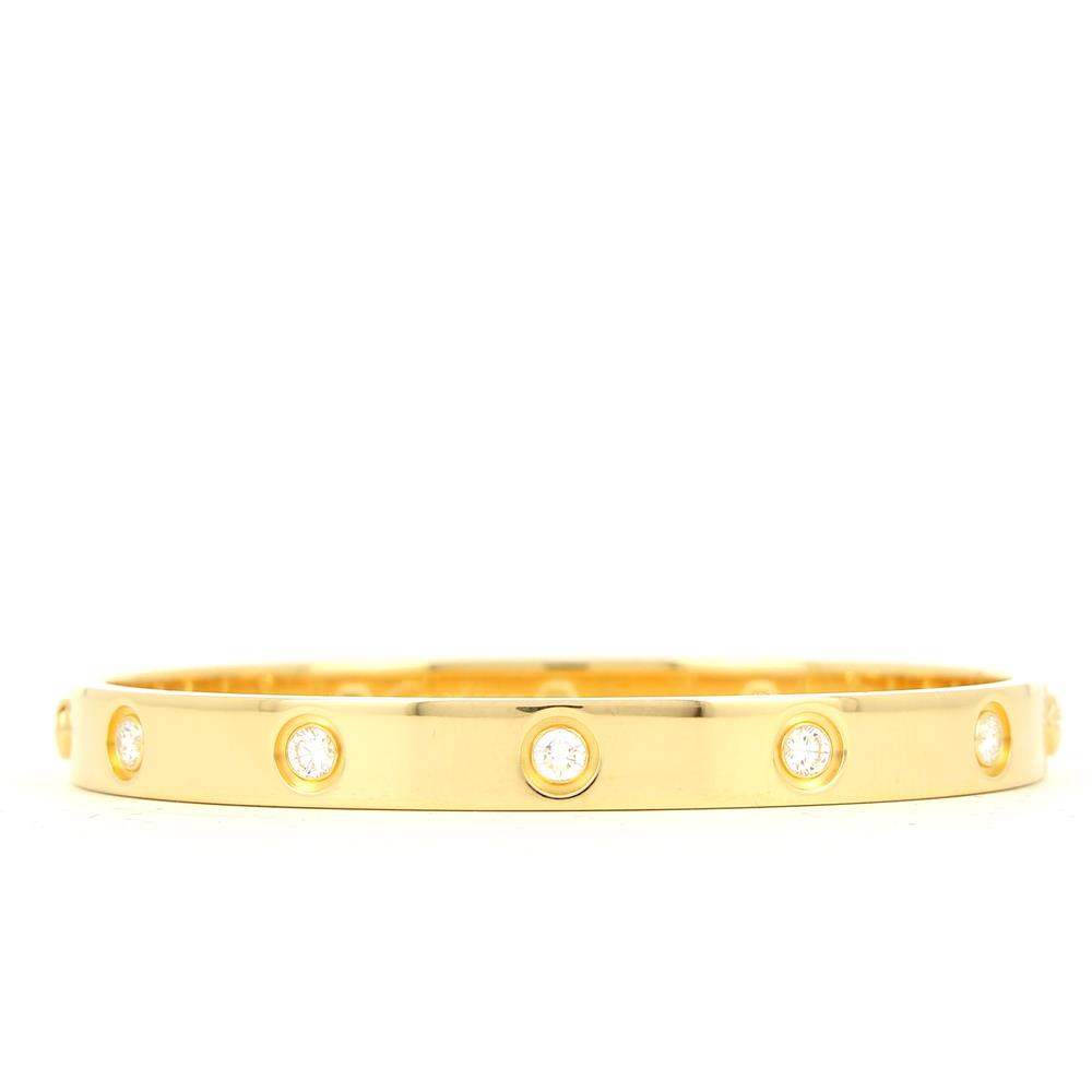 Bracelet Love de Cartier or jaune 10 diamants B6040517 d'occasion